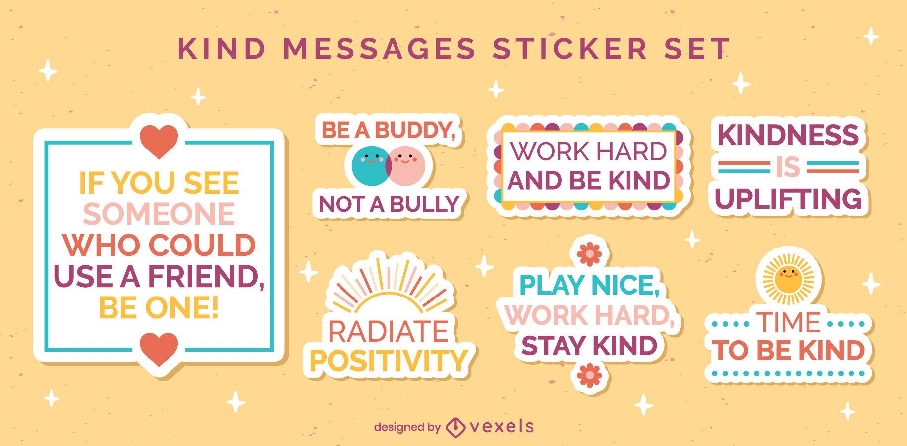 Kindness flat set of stickers