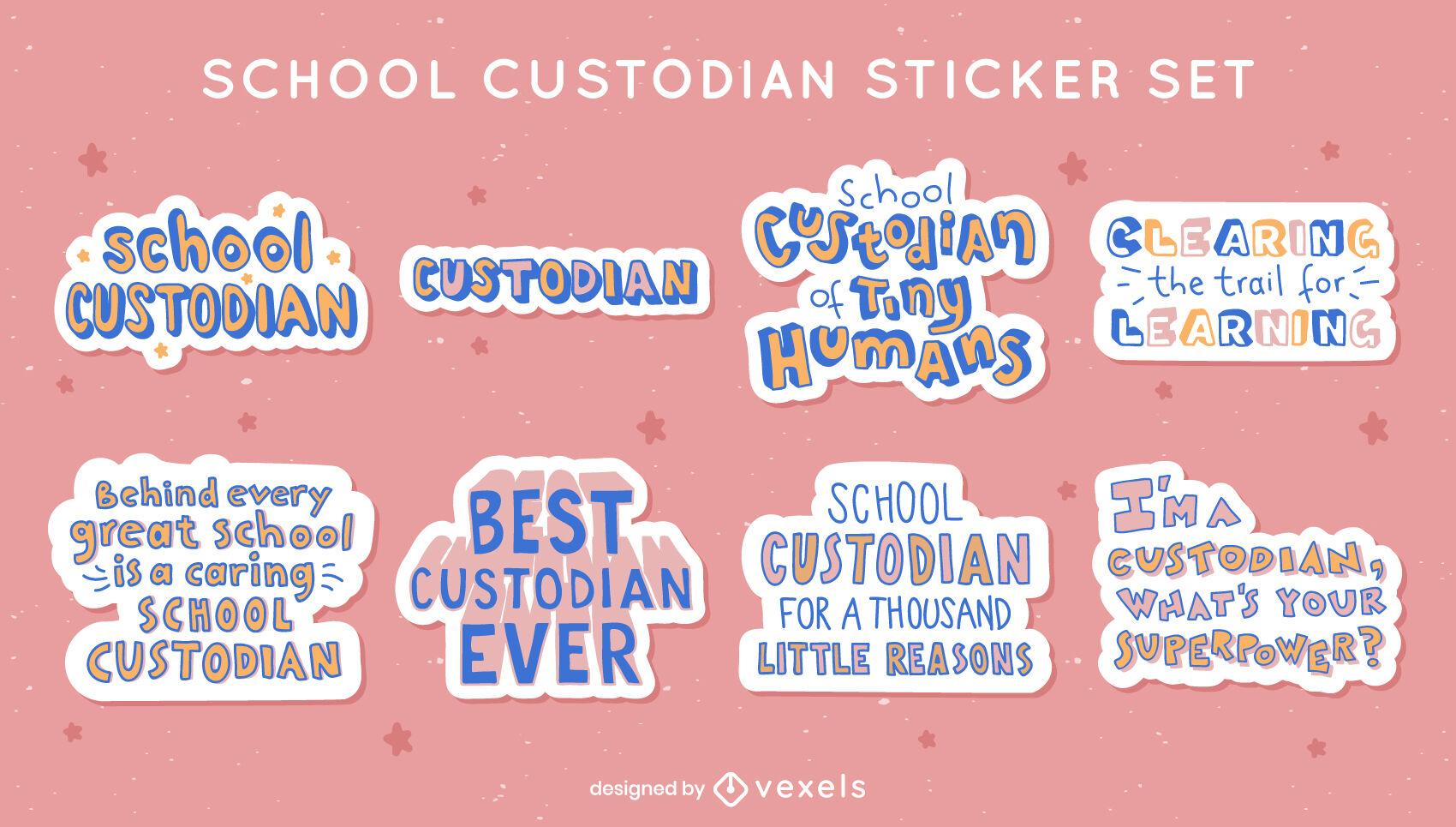 School teacher custodian sticker set
