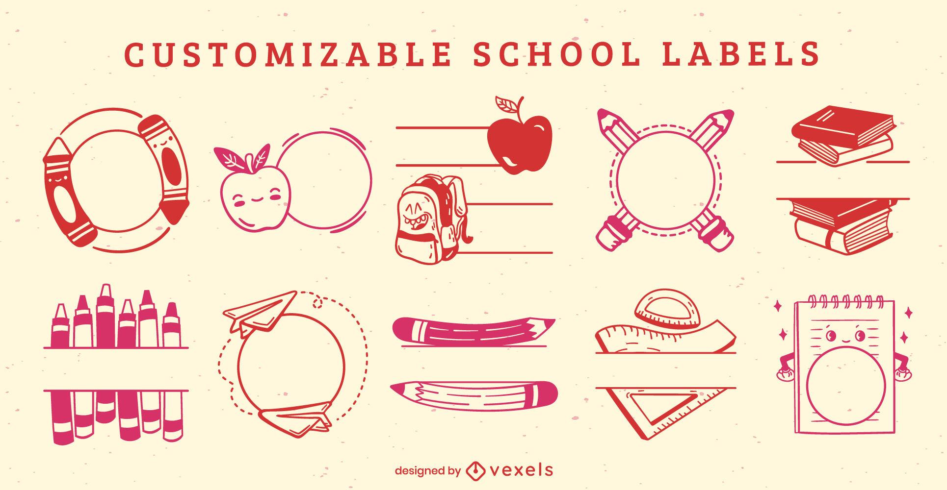 Elementos de etiqueta escolar personalizáveis