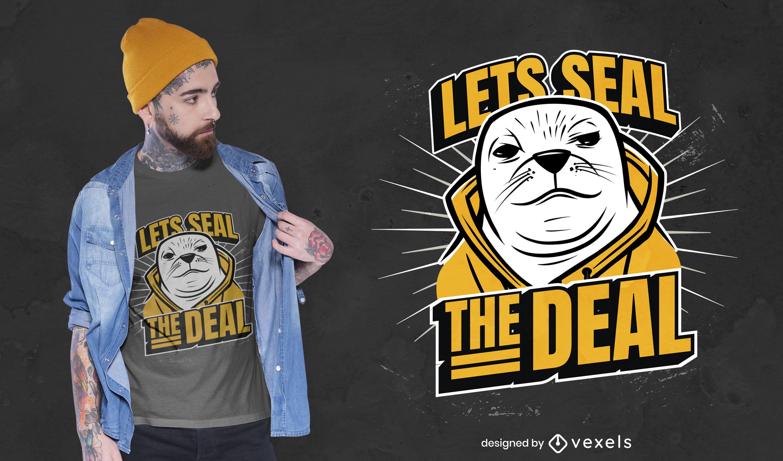 Diseño de camiseta de sello gángster animal juego de palabras