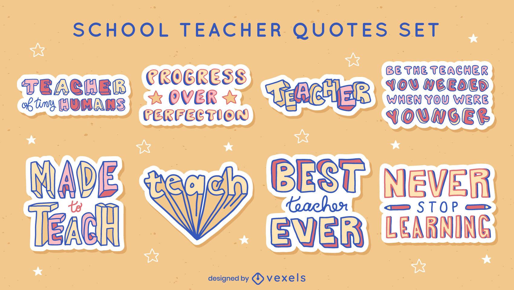 Conjunto de pegatinas de citas de maestros de escuela