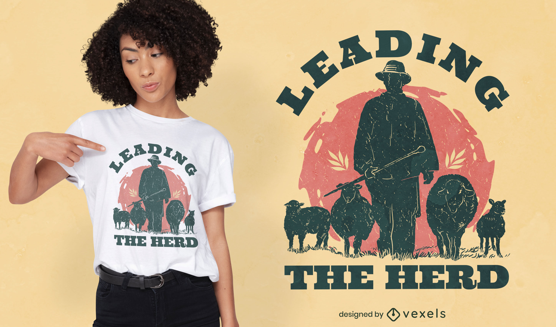 Diseño de camiseta de silueta de pastor de granja