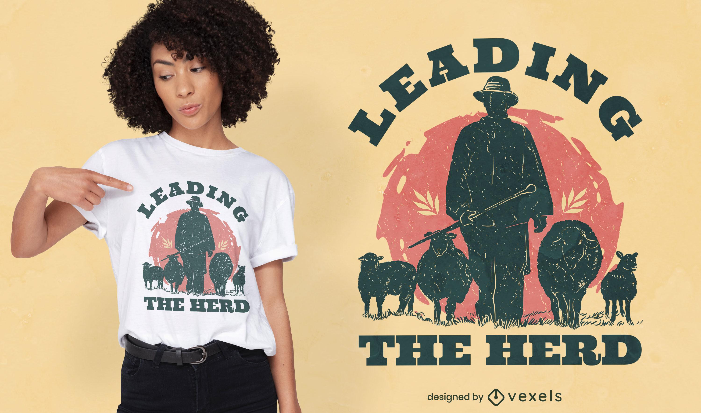 T-Shirt-Design mit Bauernhof-Schäfer-Silhouette