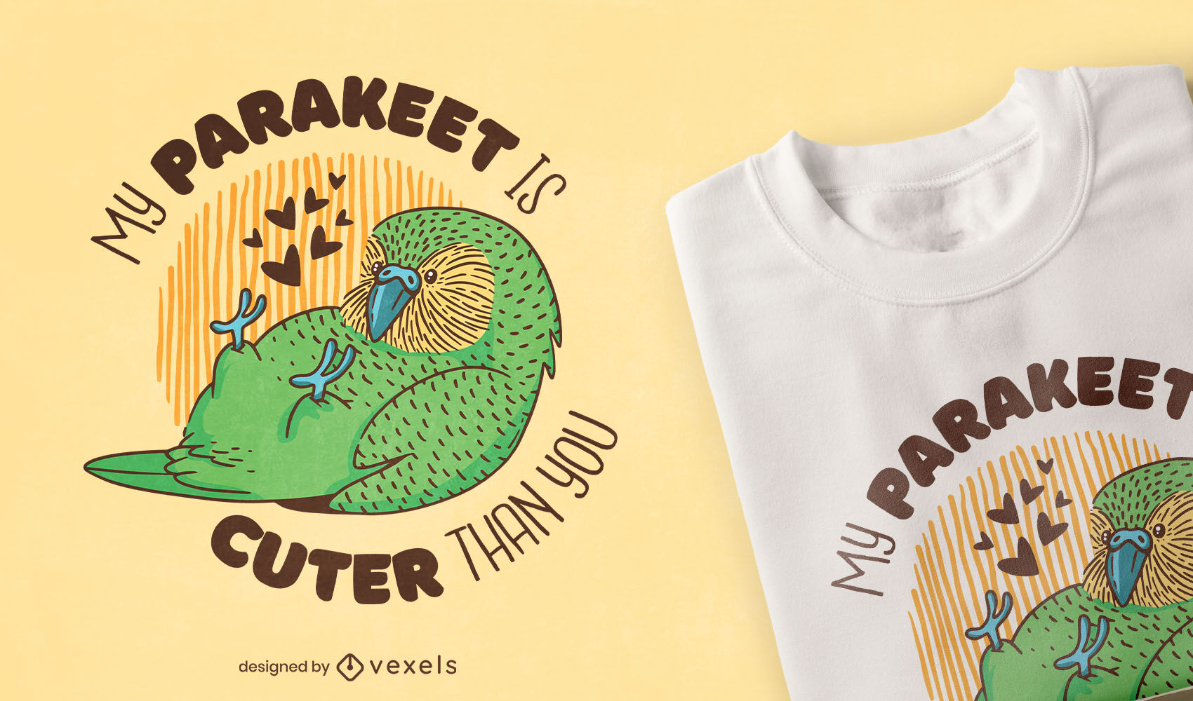 Cute parakeet bird animal t-shirt design