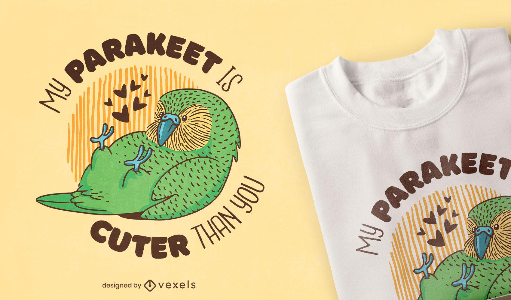 Diseño lindo de la camiseta del animal del pájaro del periquito