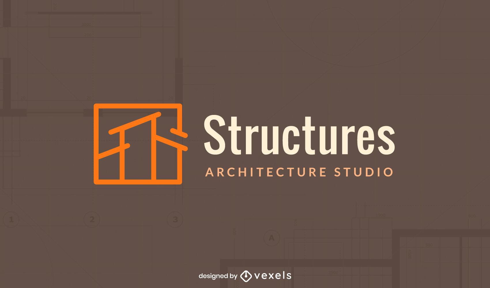 Logotipo de estructura de casa de trazo