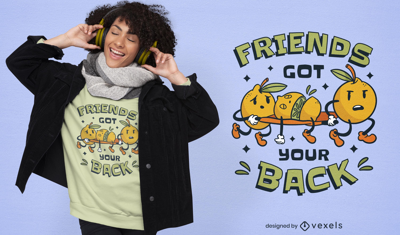 Diseño de camiseta divertida de amigos de fruta de limón.