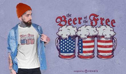 Beer drink american flag t-shirt design