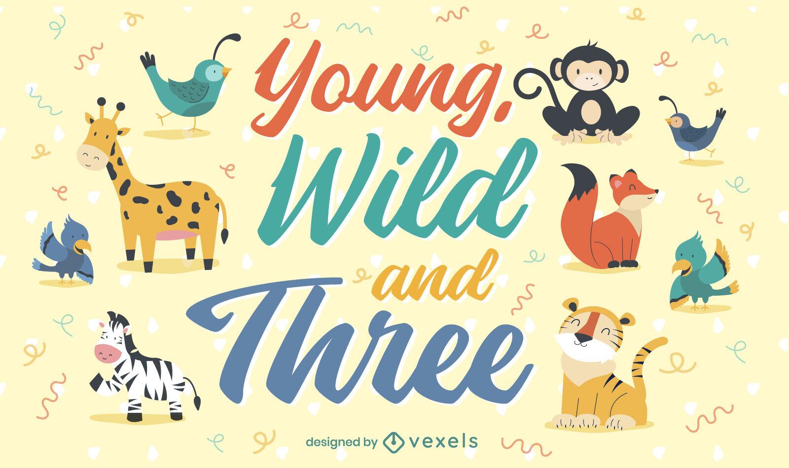 Ilustração de crianças bebês animais selvagens