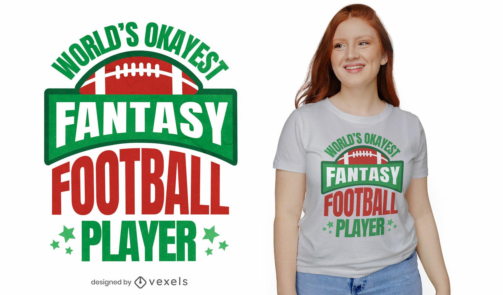 Design de t-shirt para jogador de futebol de fantasia dos okes do mundo
