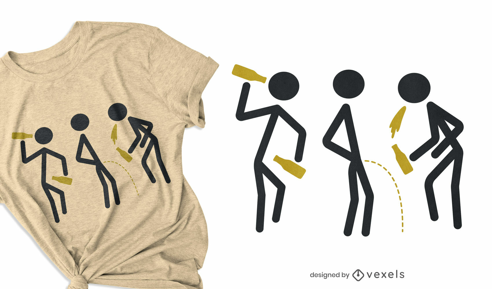 Diseño de camiseta de figuras de palo borracho.