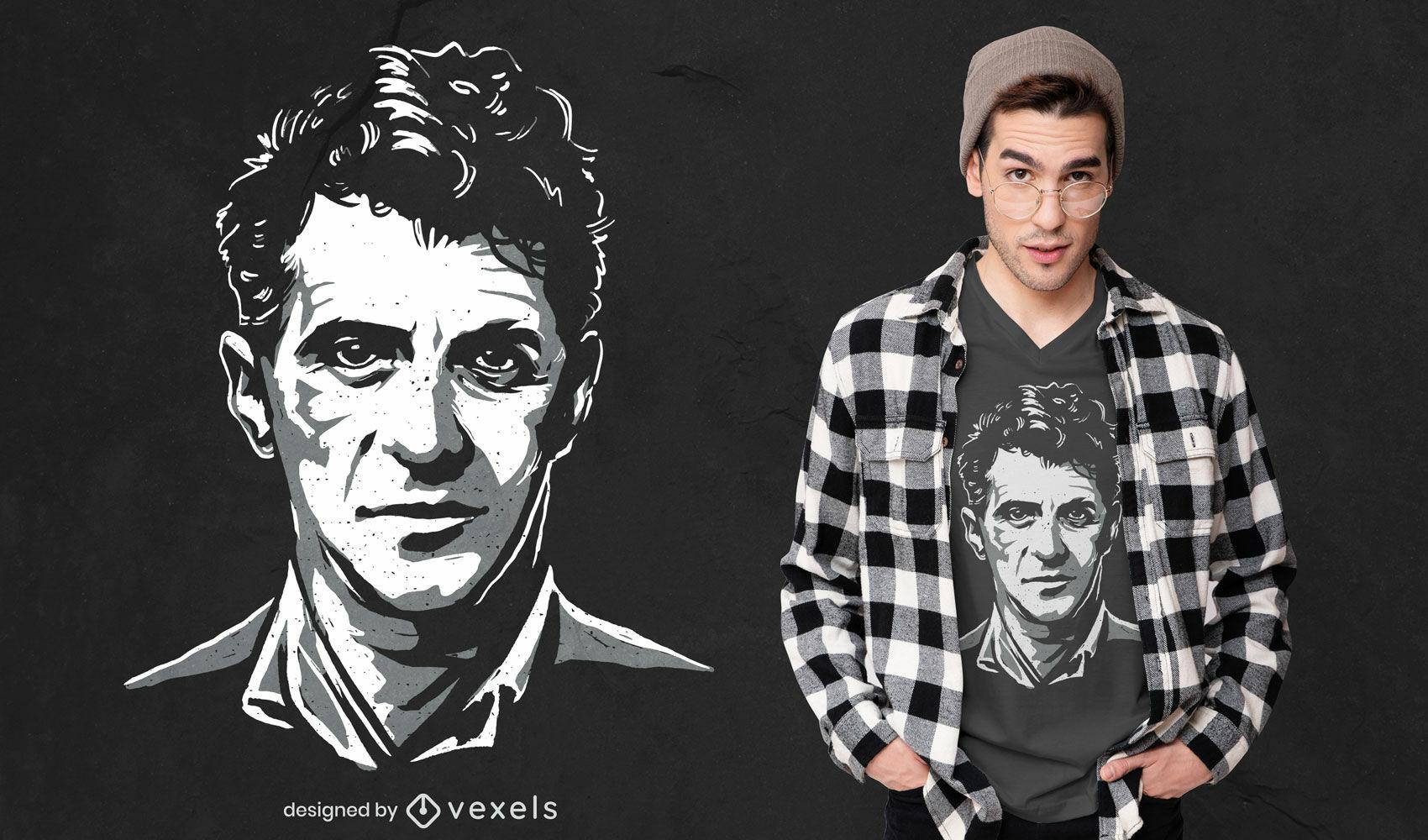 Diseño de camiseta monocromática de Ludwig Wittgenstein