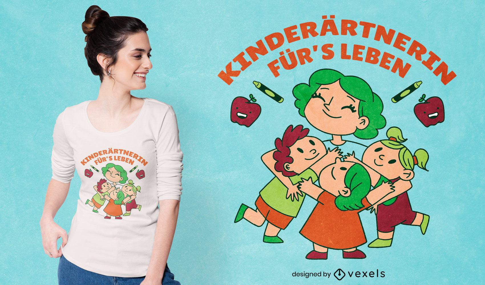 Design de t-shirt com citações de alemão para professor de jardim de infância