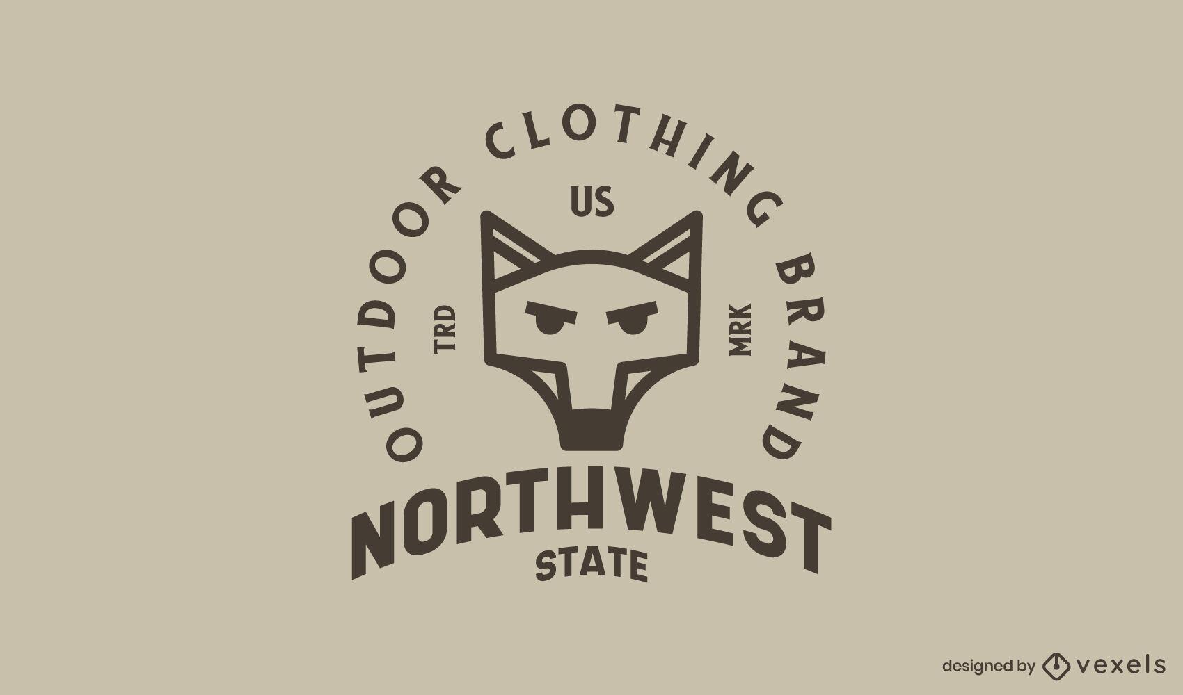 Plantilla de logotipo de trazo geométrico de lobo