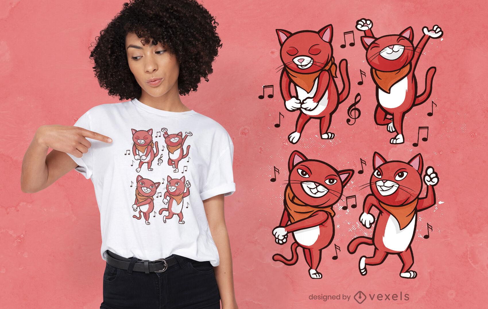 Diseño de camiseta de gatos bailando.