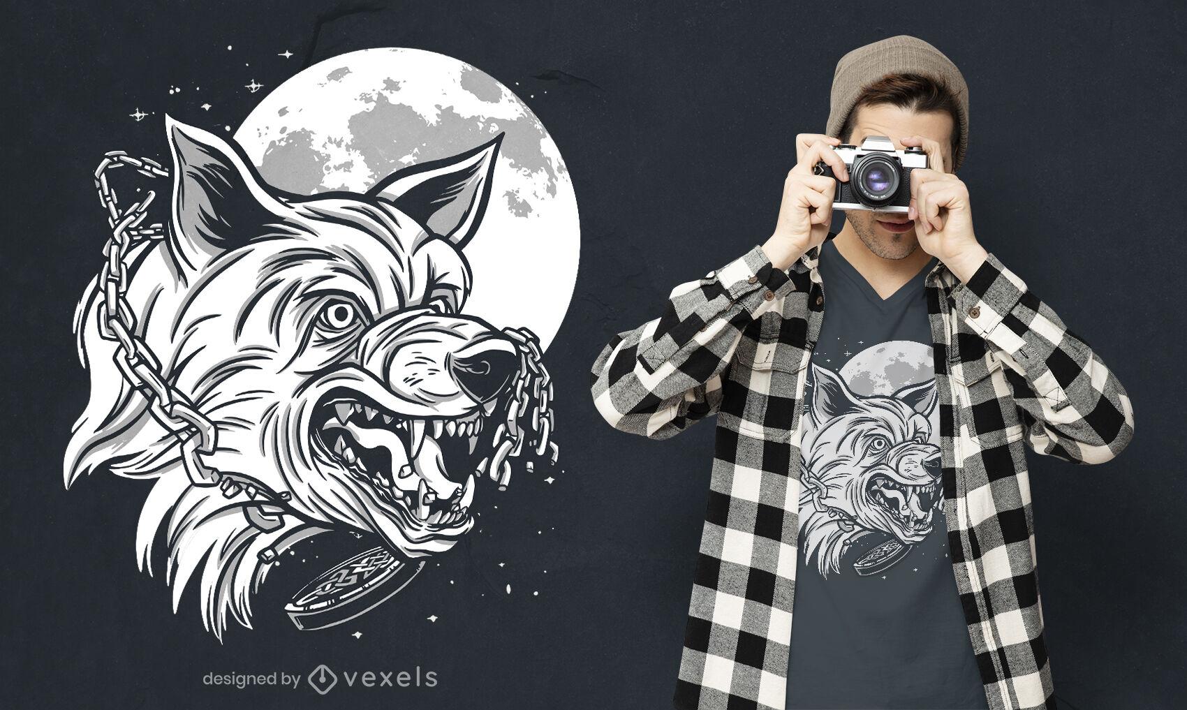 Diseño de camiseta monocromática de lobo enojado.