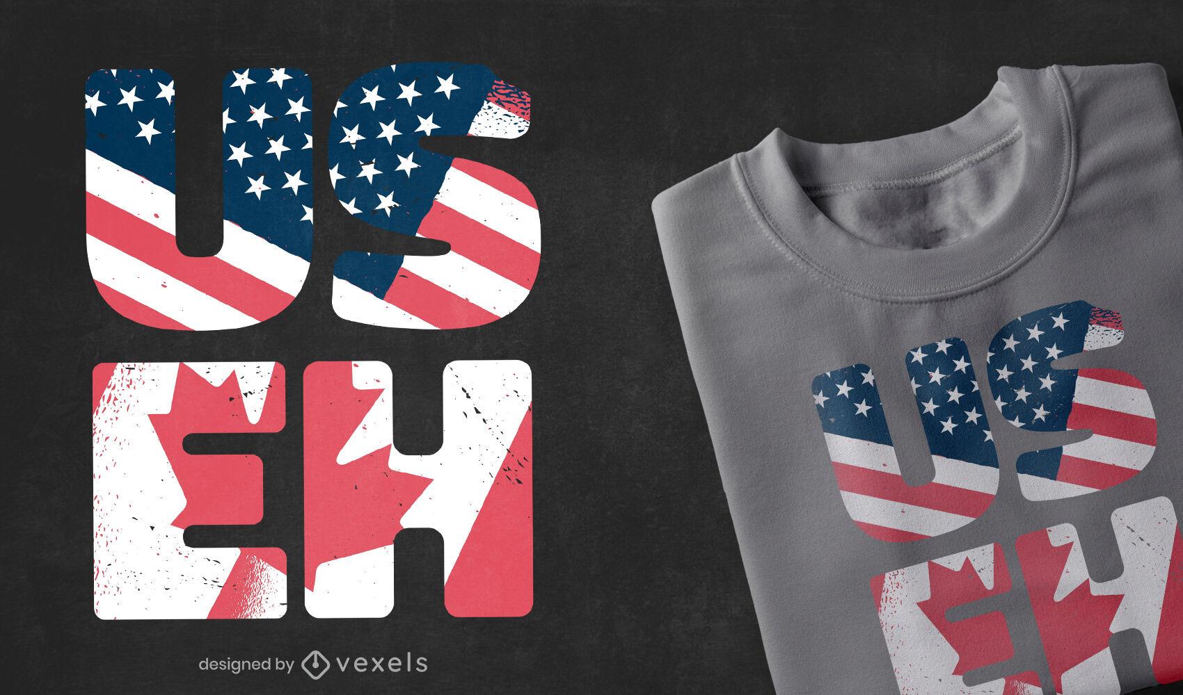 Diseños de camisetas de expresiones de Estados Unidos Canadá.