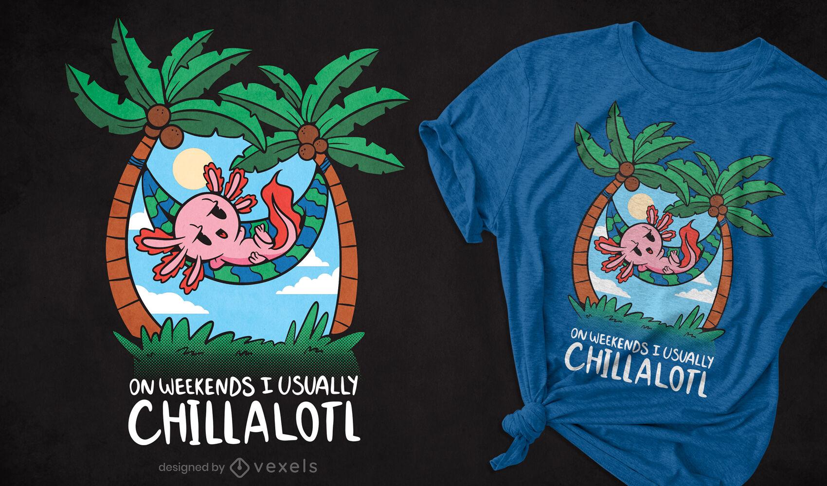 Chilling axolotl cartoon t-shirt design