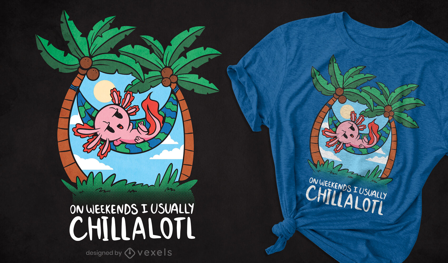 Design de t-shirt de desenho animado axolotl arrepiante