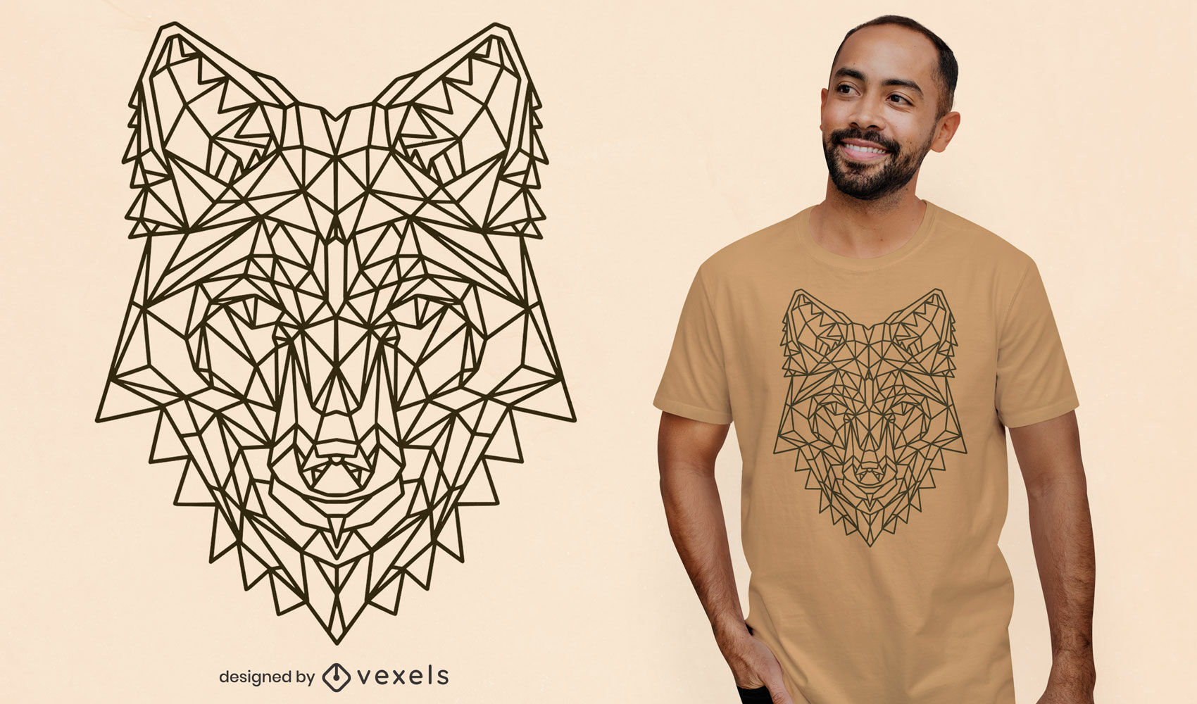 Design de t-shirt poligonal de raposa com traço
