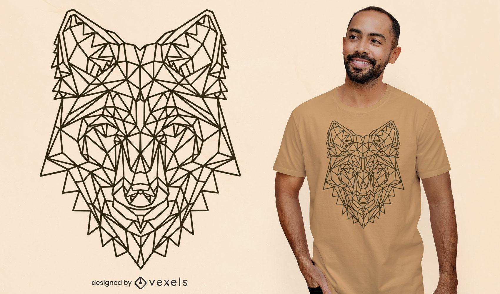 Diseño de camiseta de zorro de trazo poligonal.