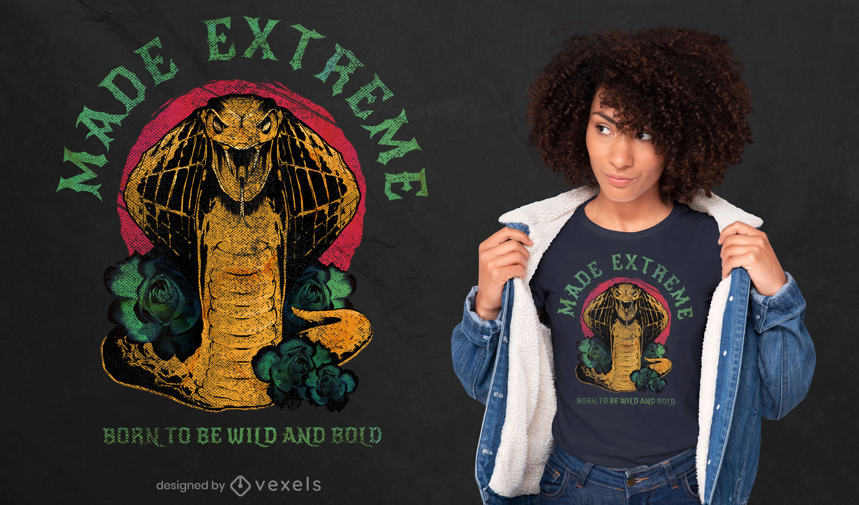 Camiseta de animal salvaje serpiente cobra psd