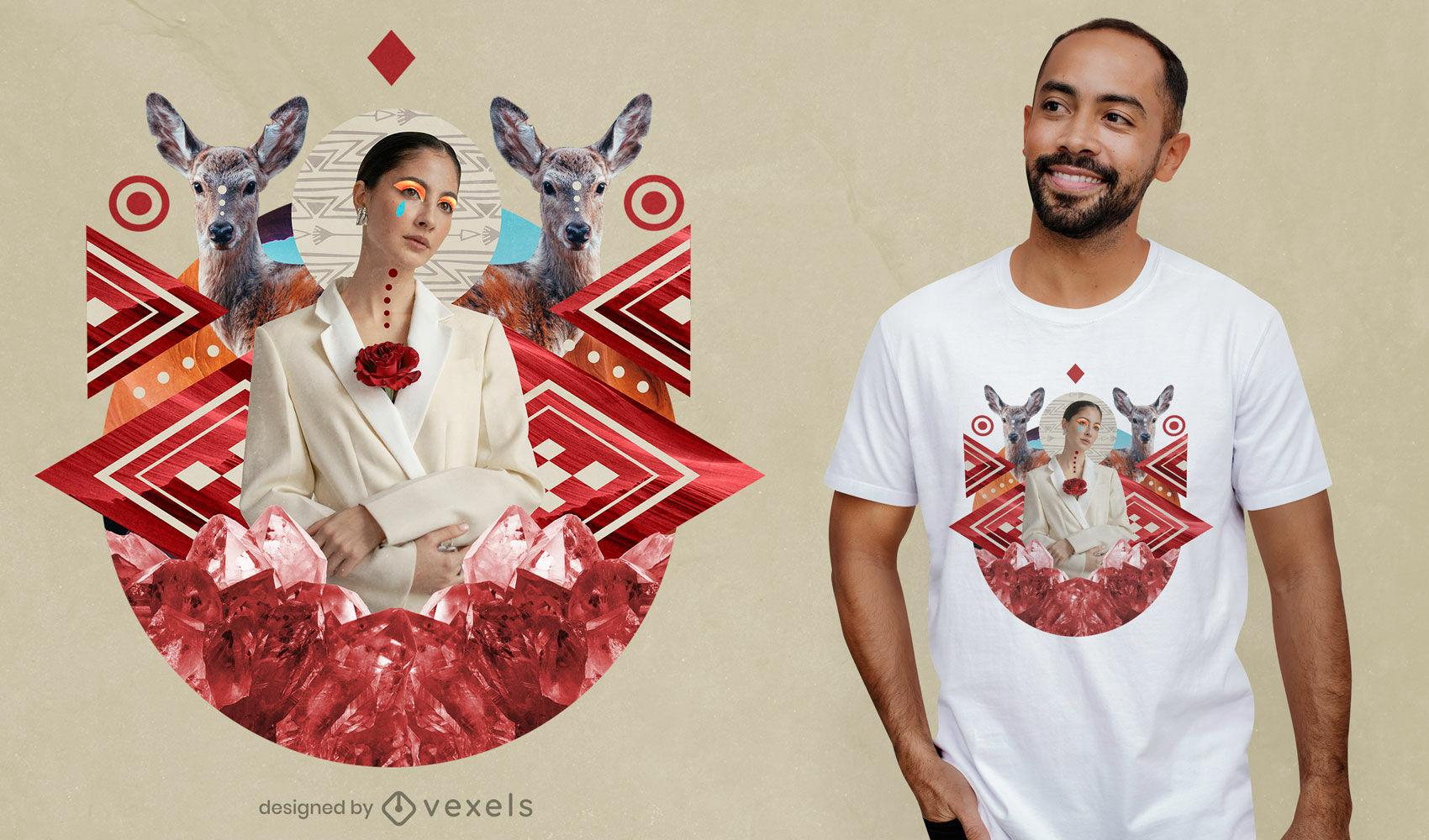 Geometric ruby stone collage t-shirt psd