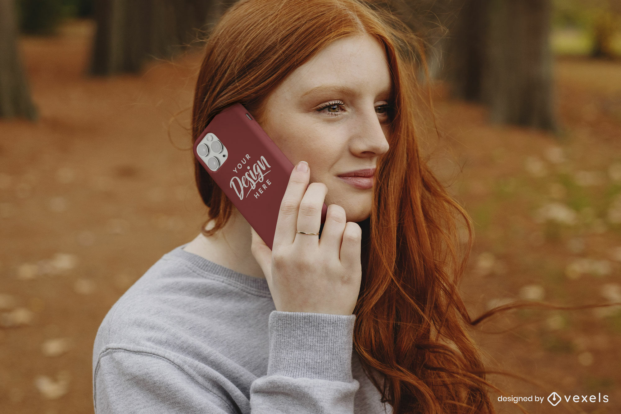 Red headed woman autumn phone case mockup