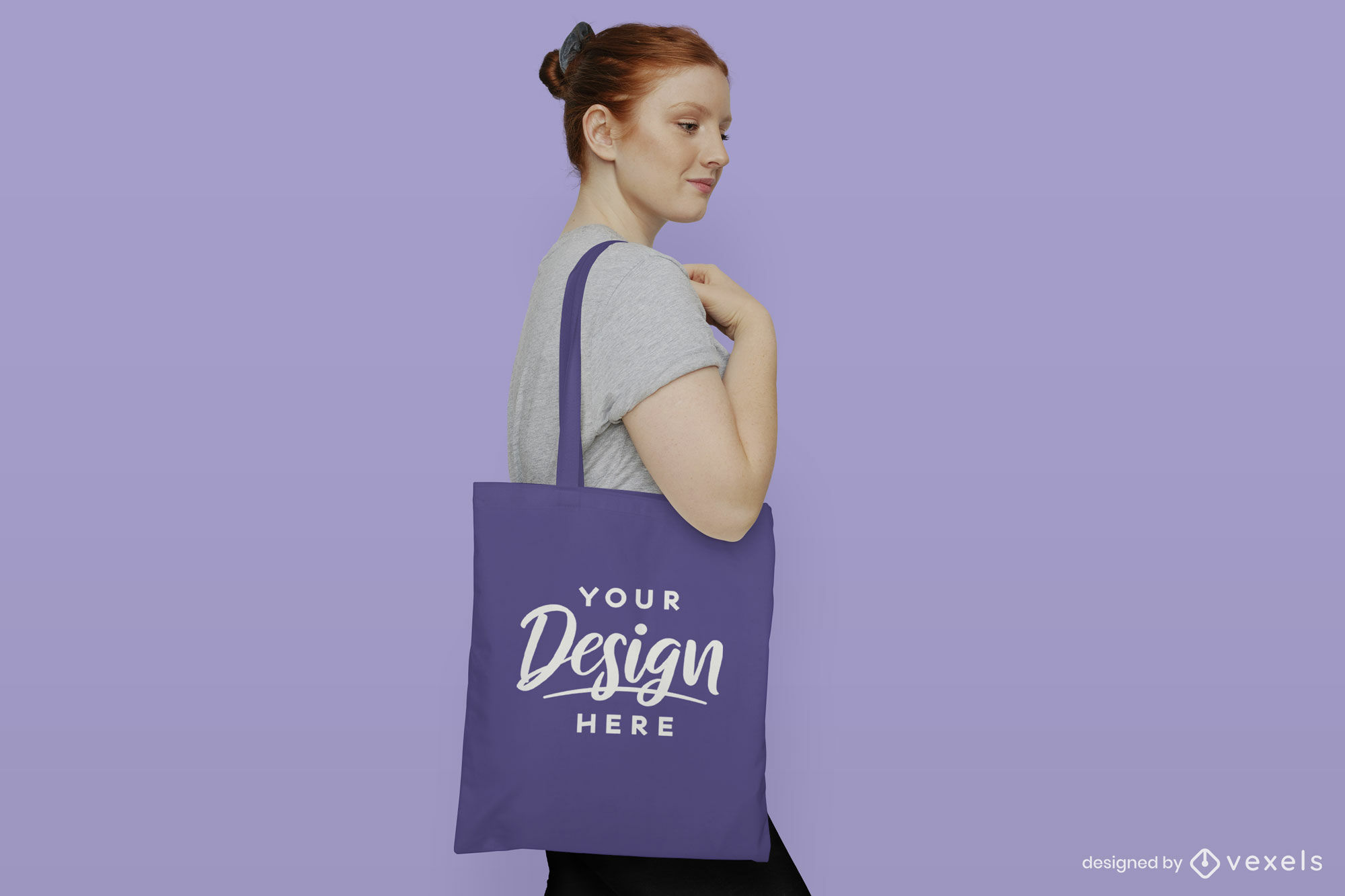 Woman in solid background tote bag mockup