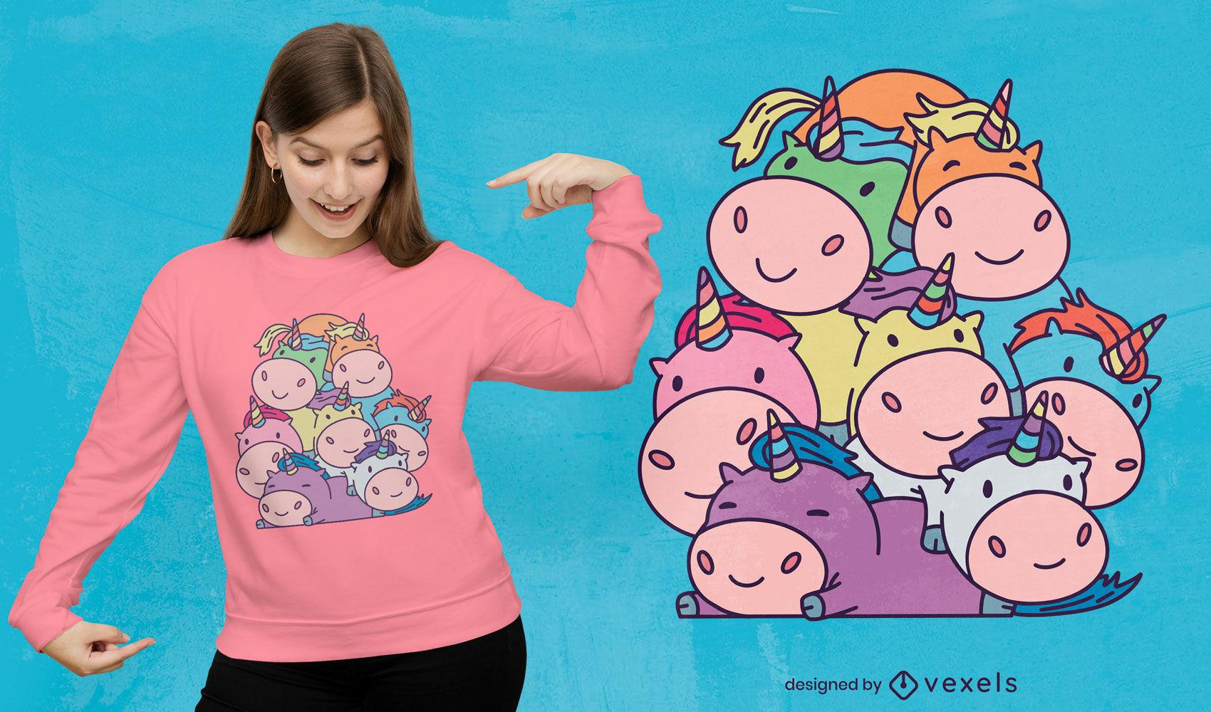 Cute unicorn pile t-shirt design