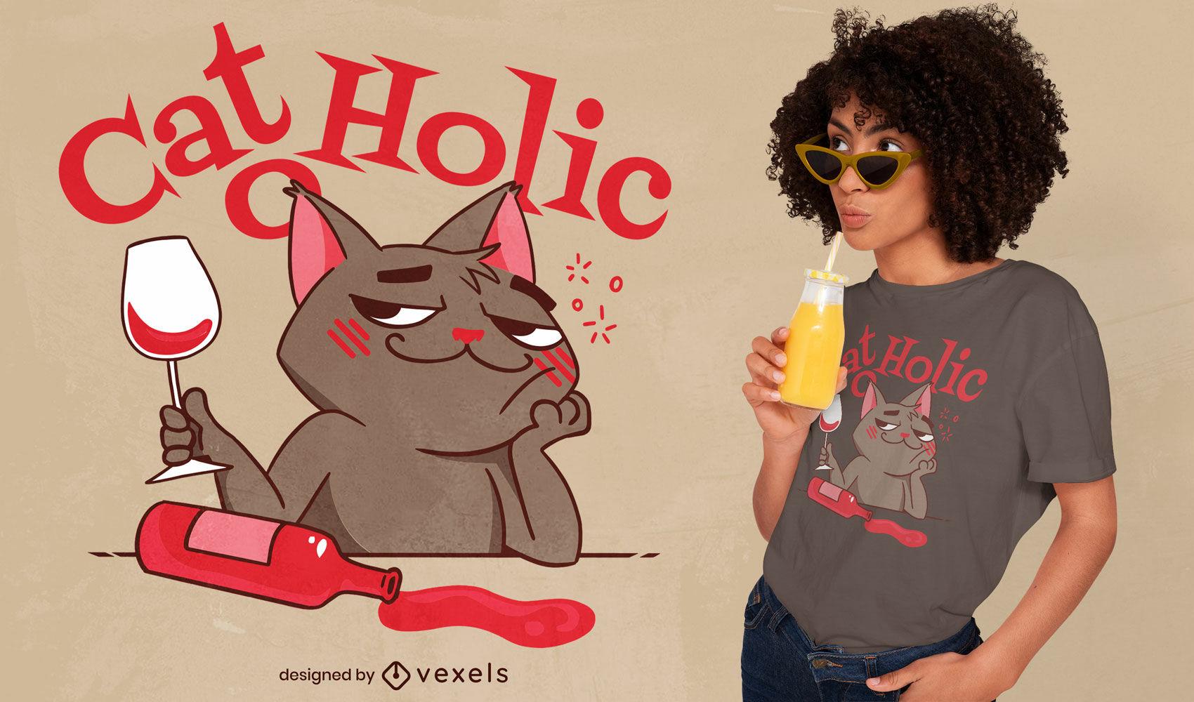 Design de t-shirt Cat o holic