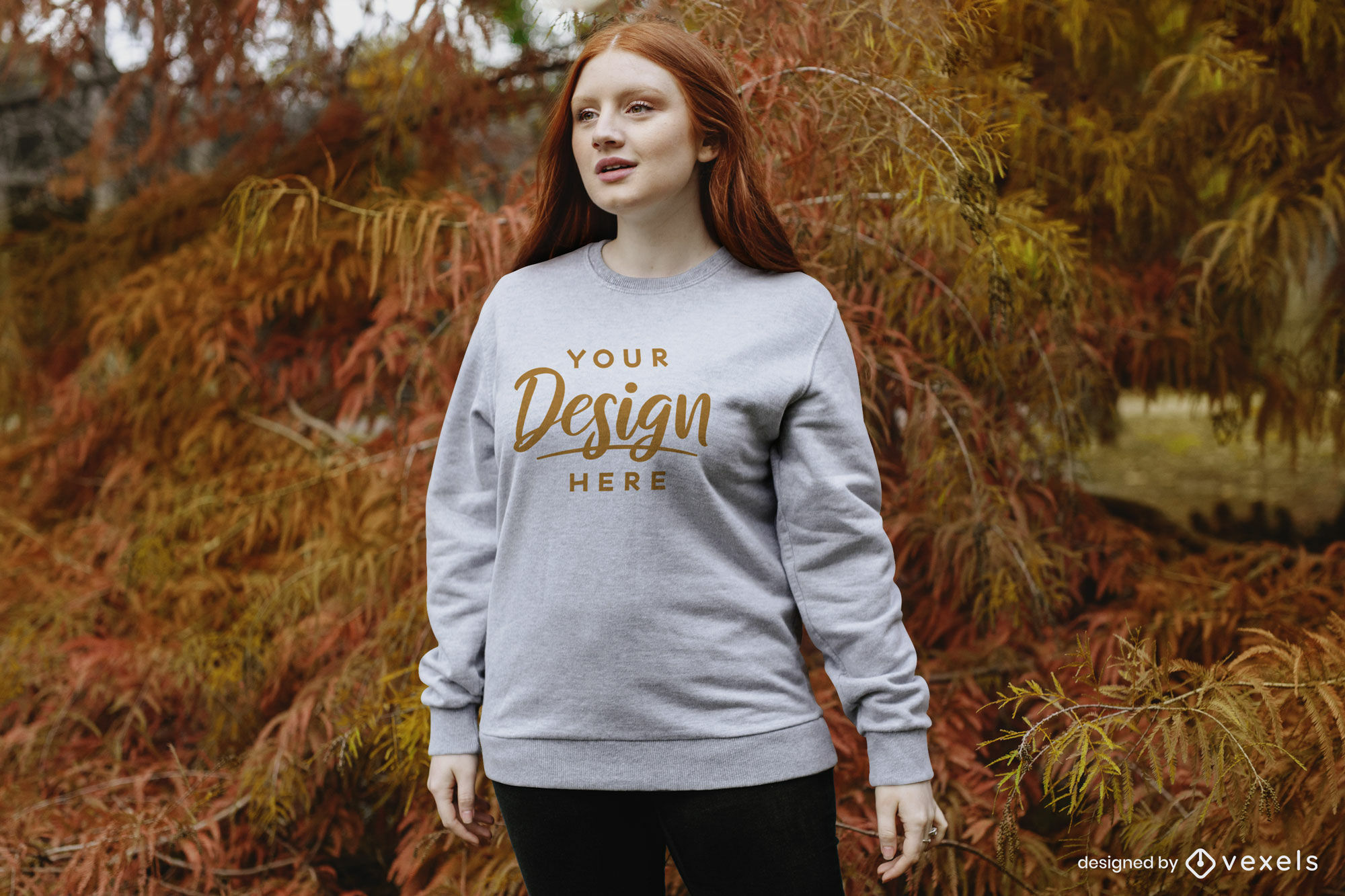 Ginger girl with fall trees sweatshirt mockup