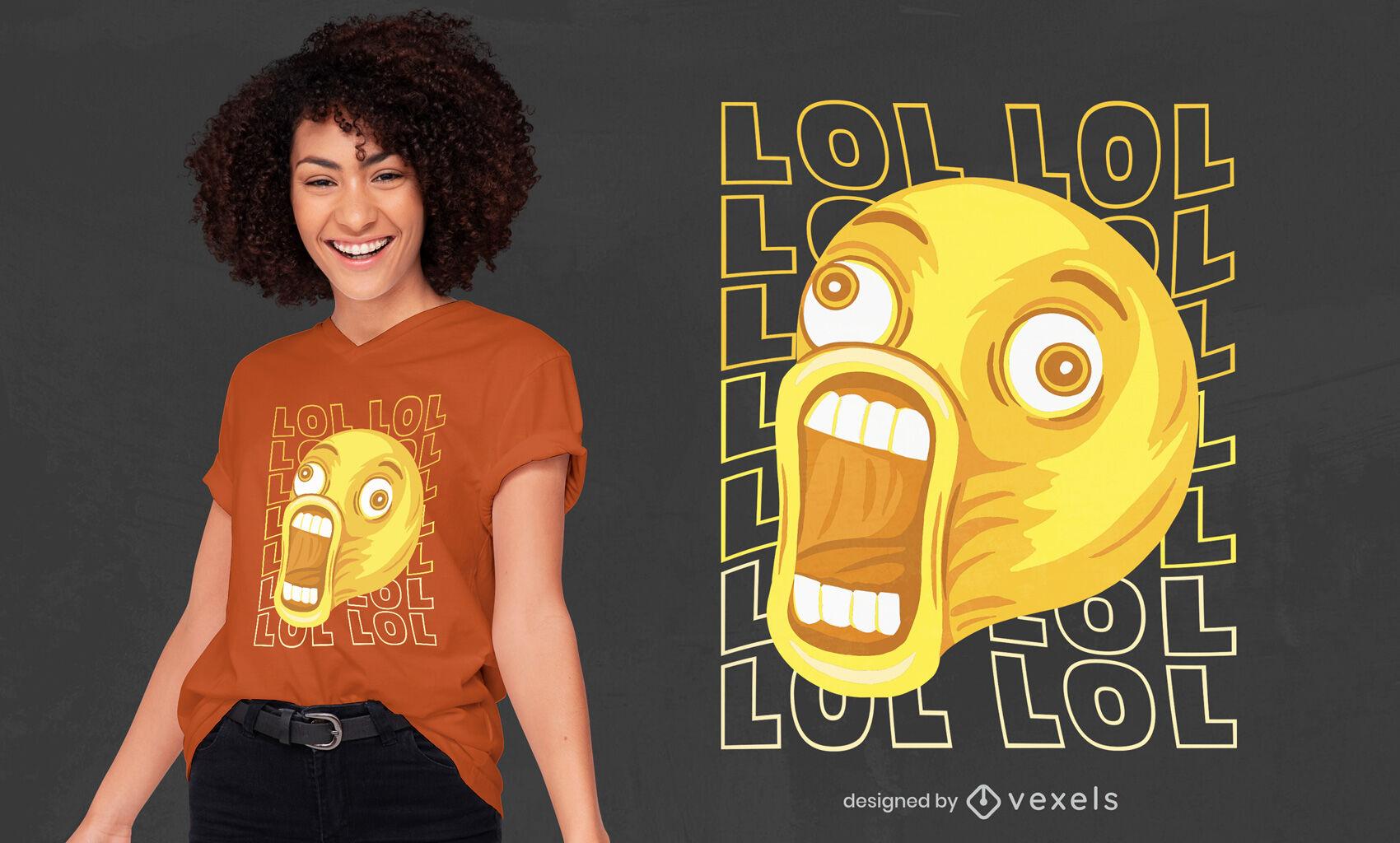 Diseño de camiseta divertida emoji riendo