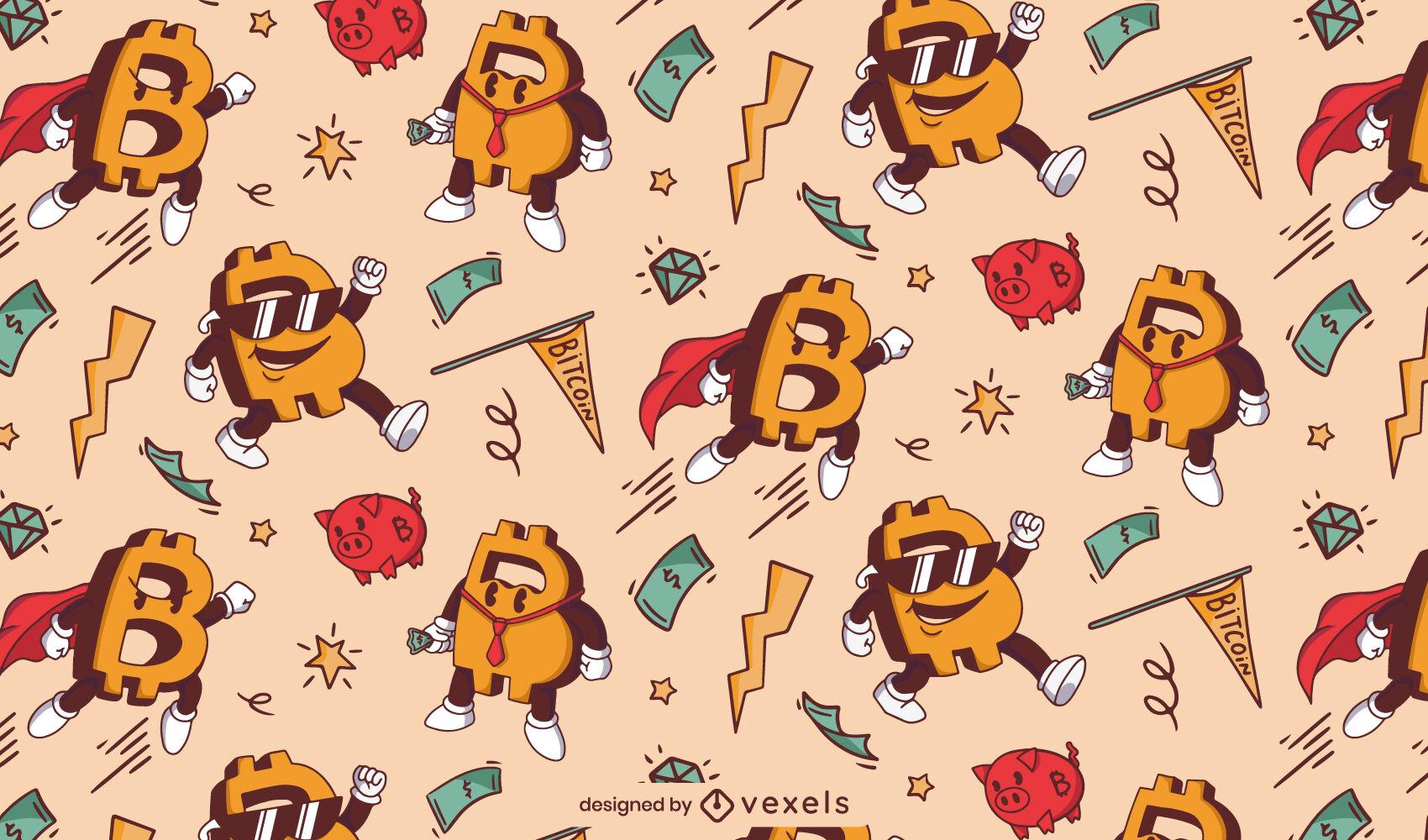 Patrón de dibujos animados de color Bitcoin