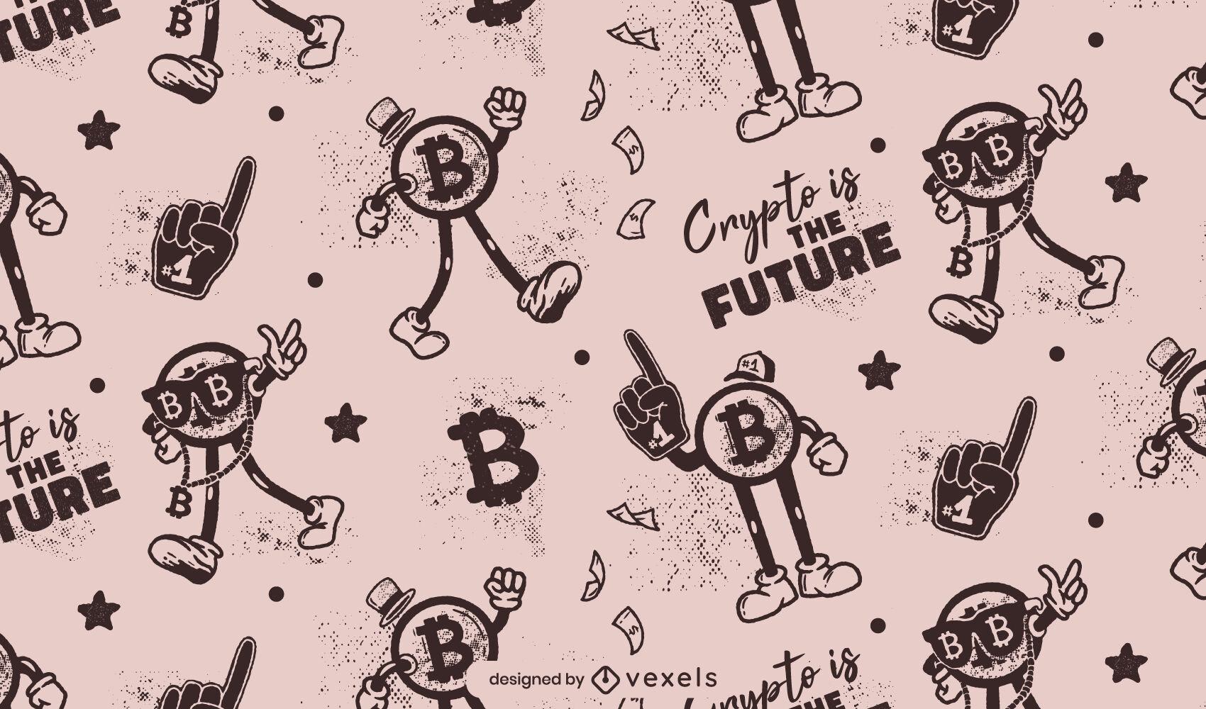 Patrón de dibujos animados retro de Bitcoin