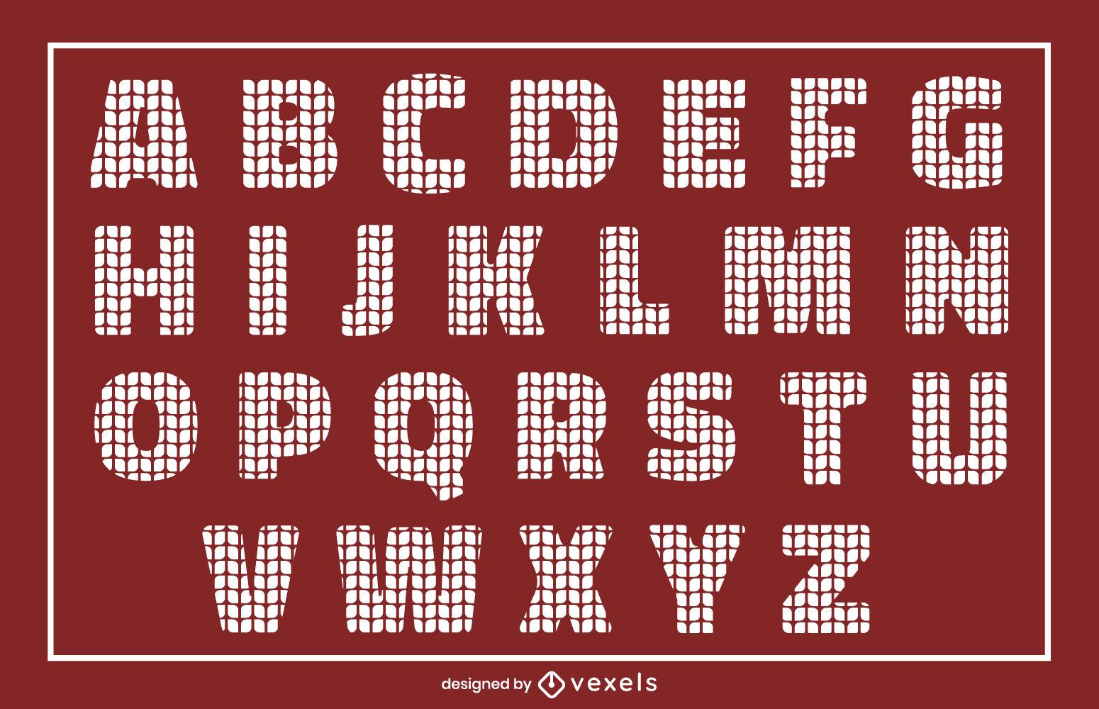 Conjunto de alfabeto de textura de punto