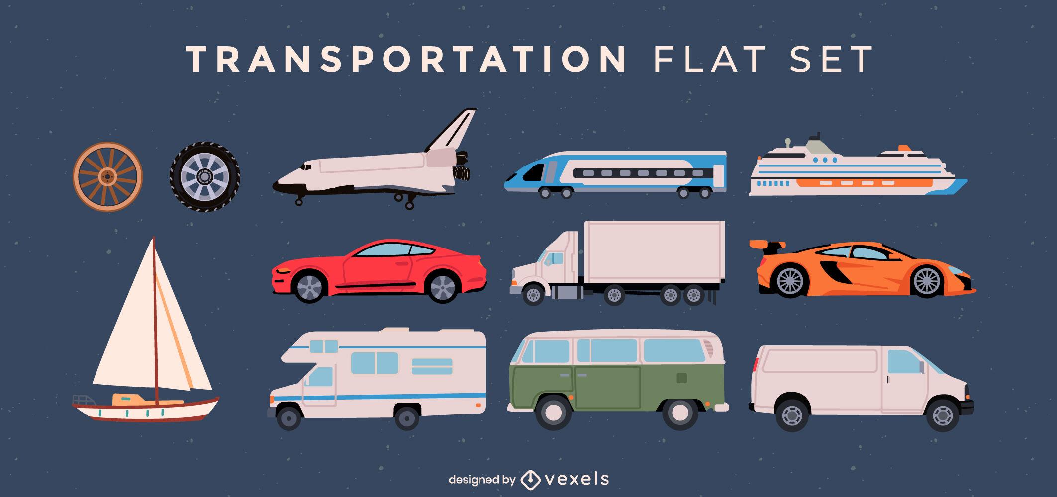 Conjunto plano de elementos de transporte