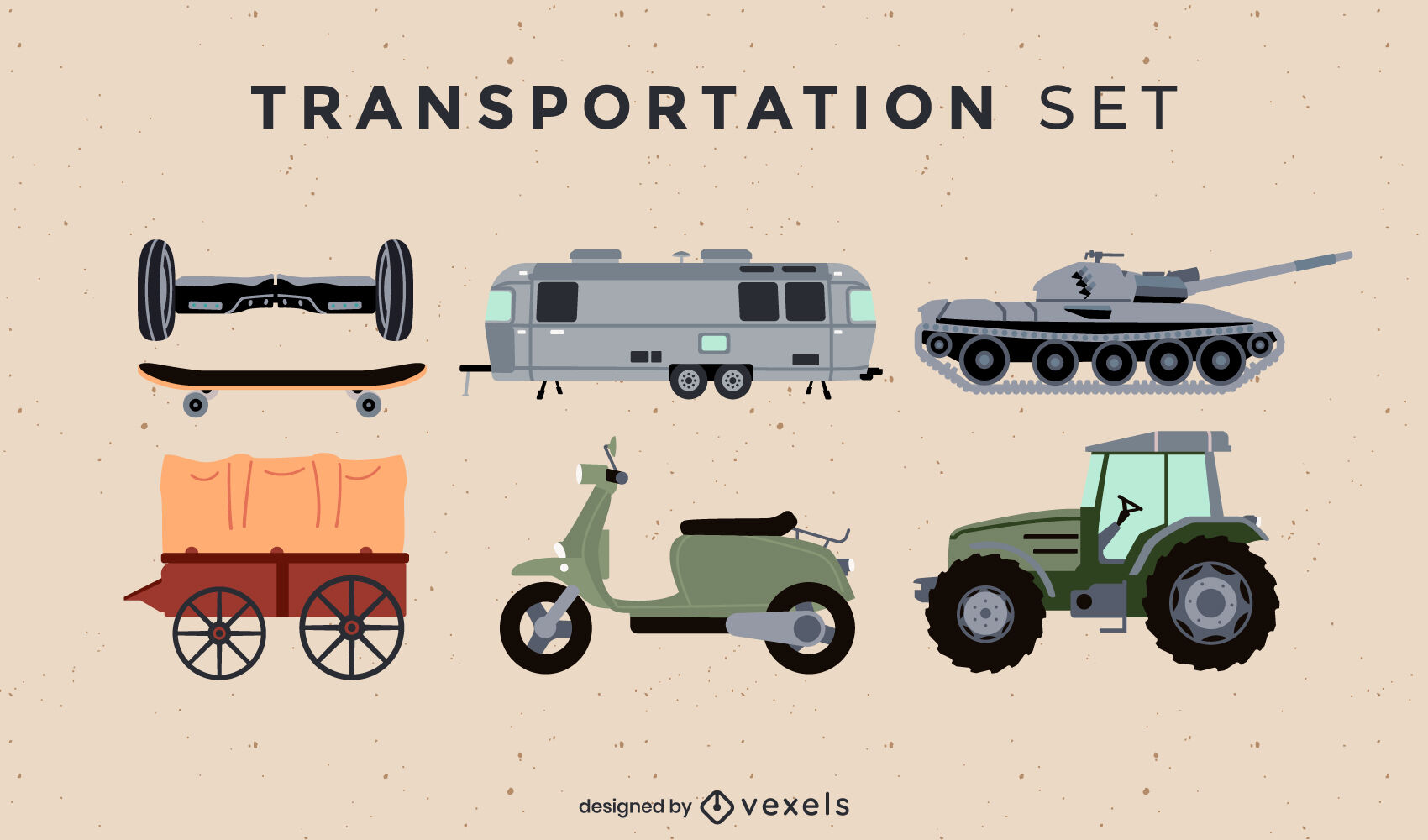 Set of transportation items flat