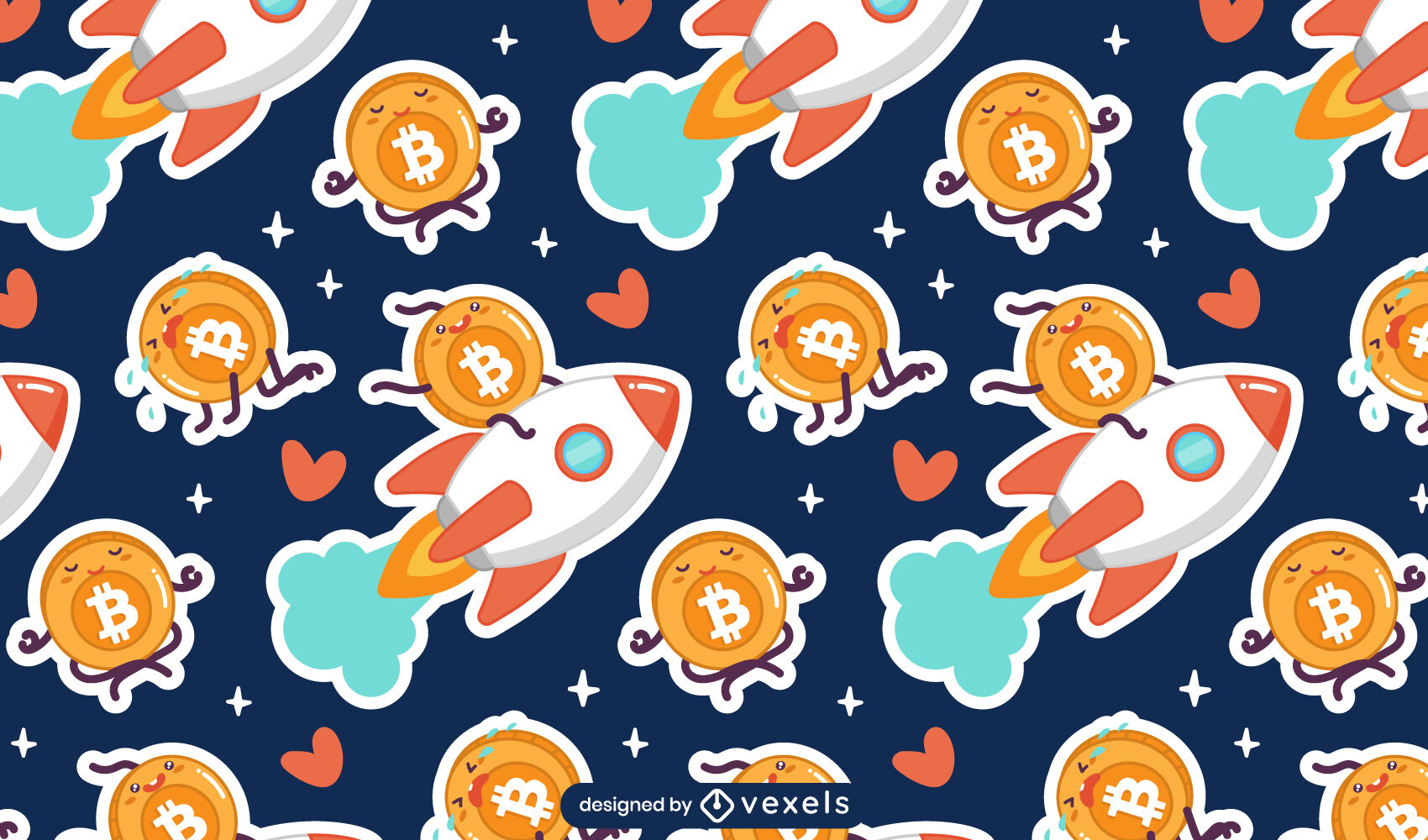 Cute bitcoin characters pattern