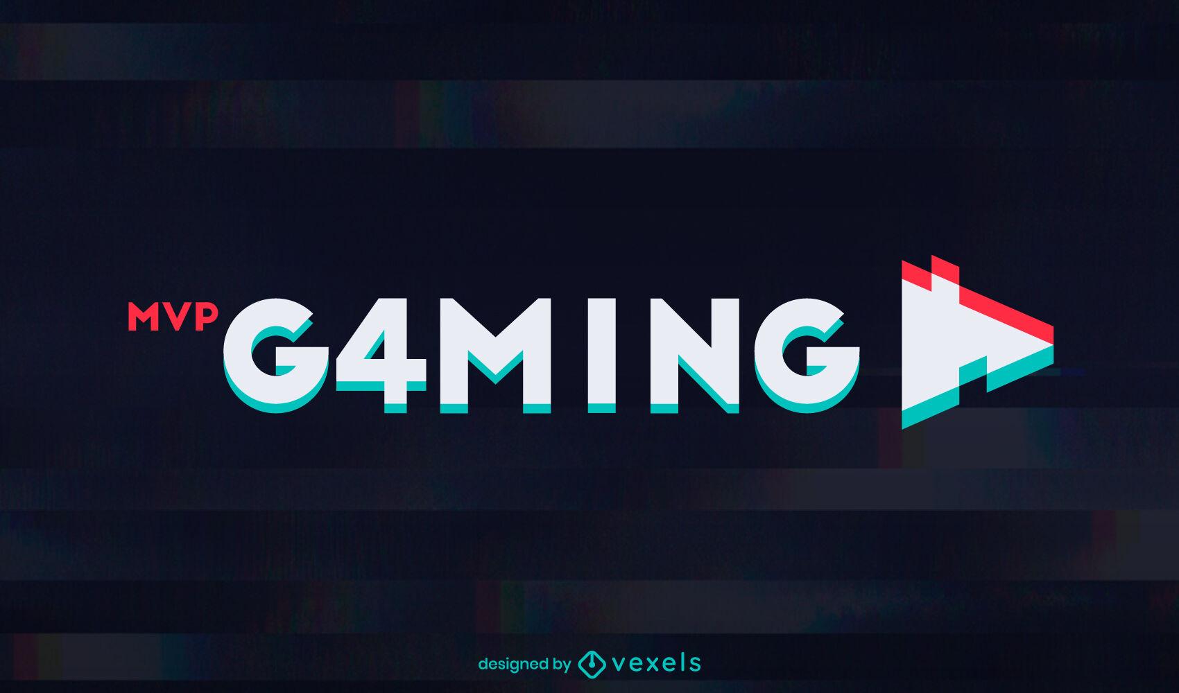 Gaming glitch text effect logo