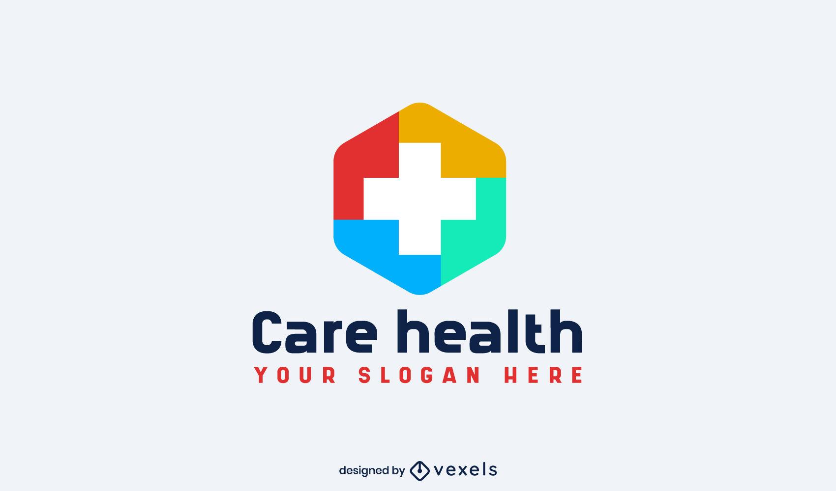 Plantilla de logotipo de cruz de medicina de color