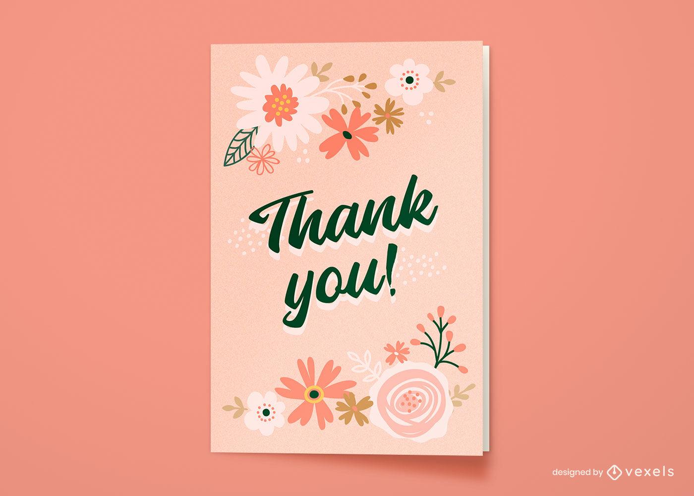 Gracias tarjeta de felicitación de naturaleza floral