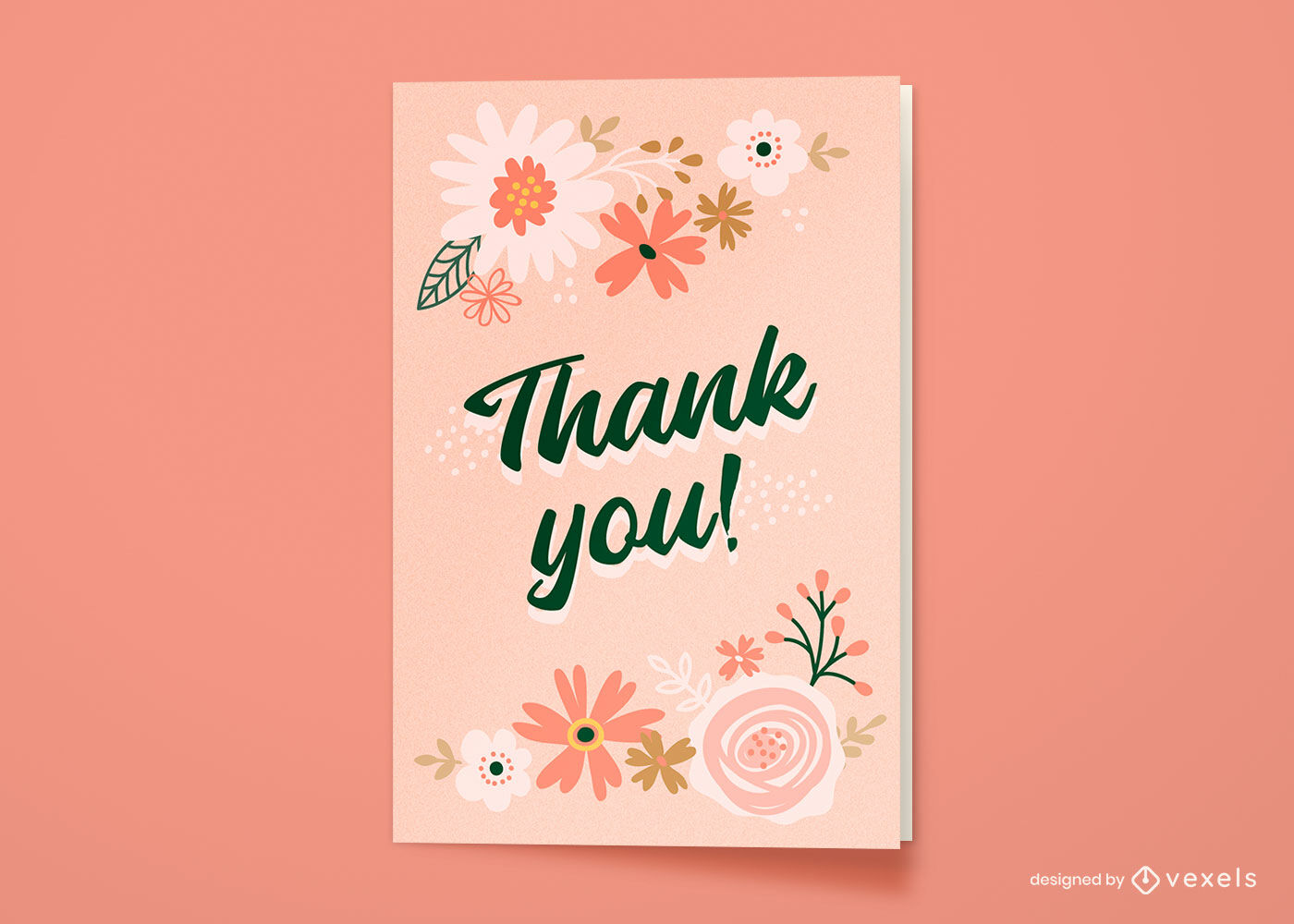 Obrigado cartão de saudação floral