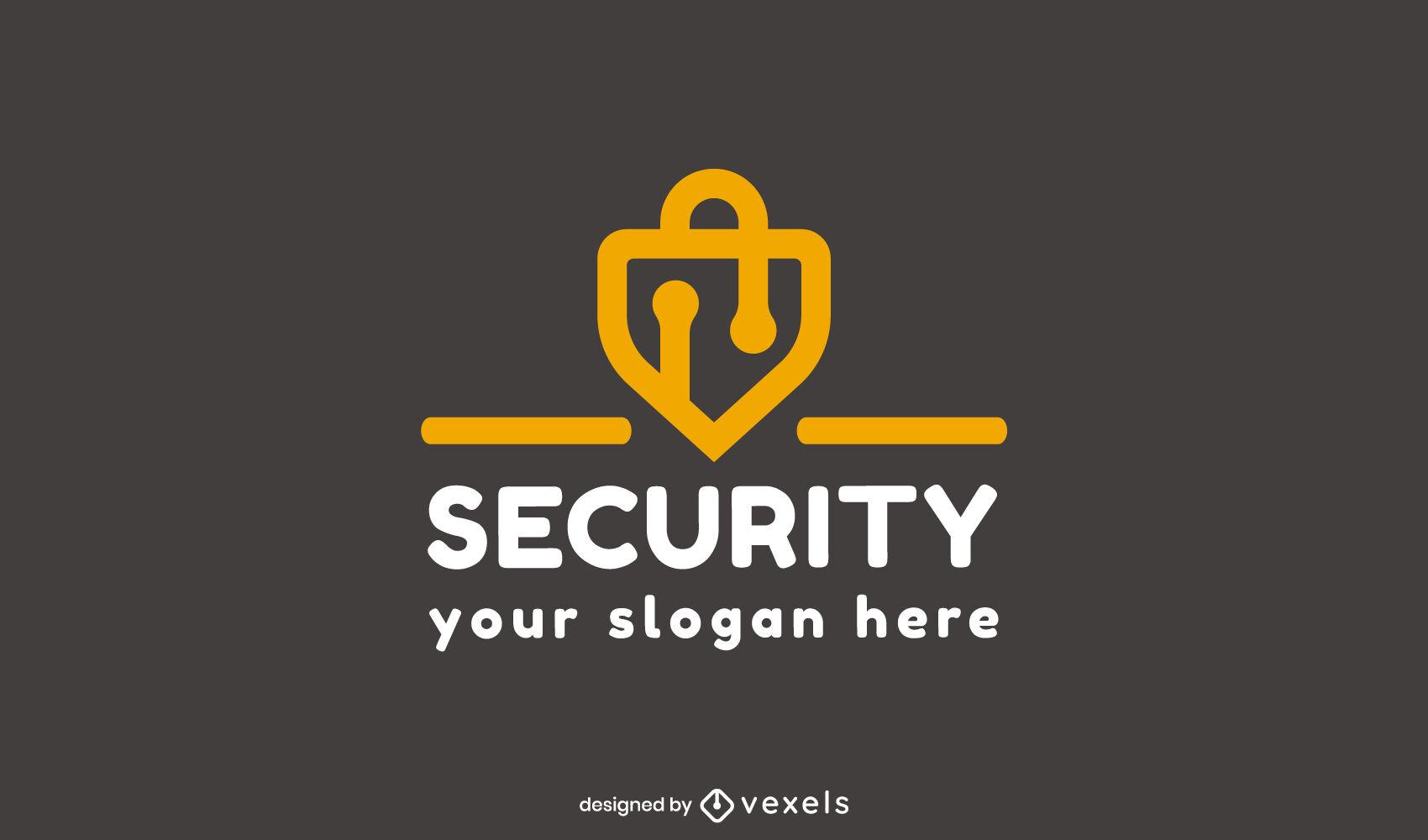 Plantilla de logotipo de trazo de bloqueo de seguridad