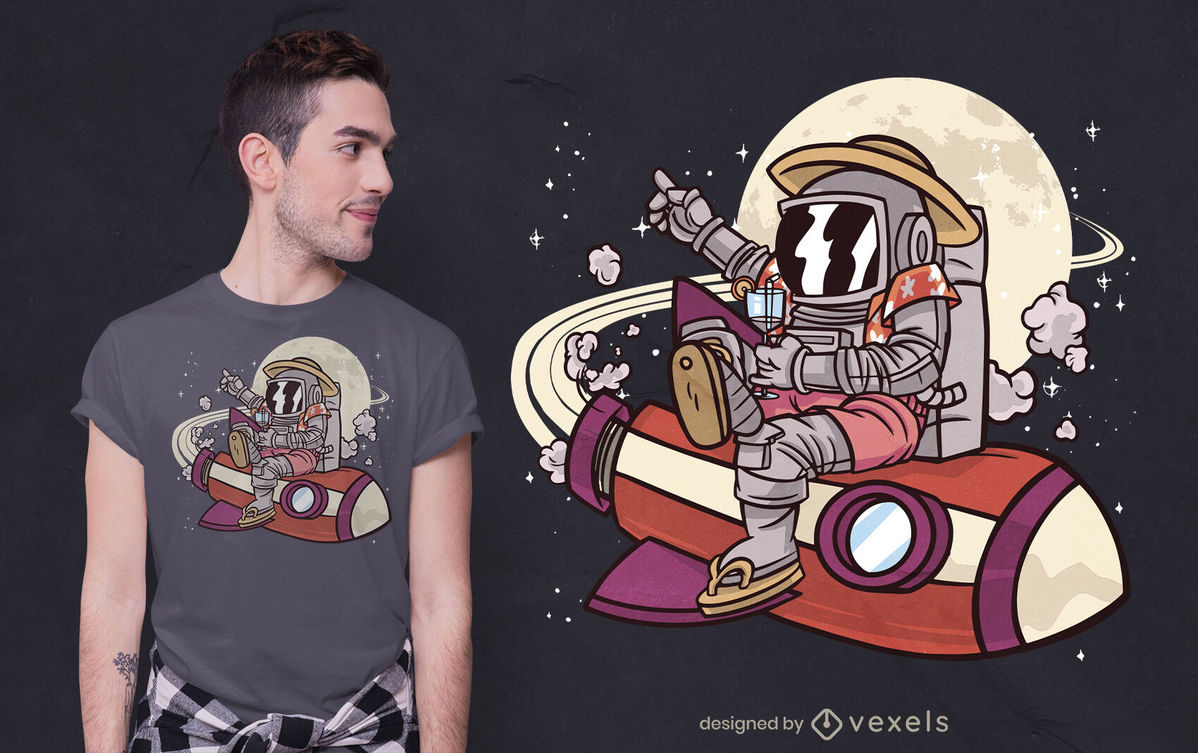 Dise?o de camiseta de ilustraci?n de turista espacial.