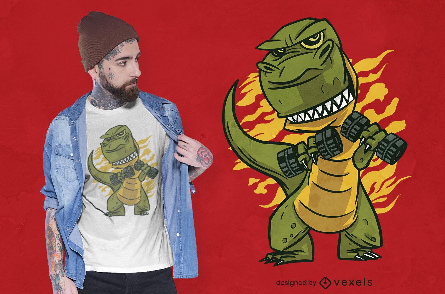 T-rex in gym t-shirt design