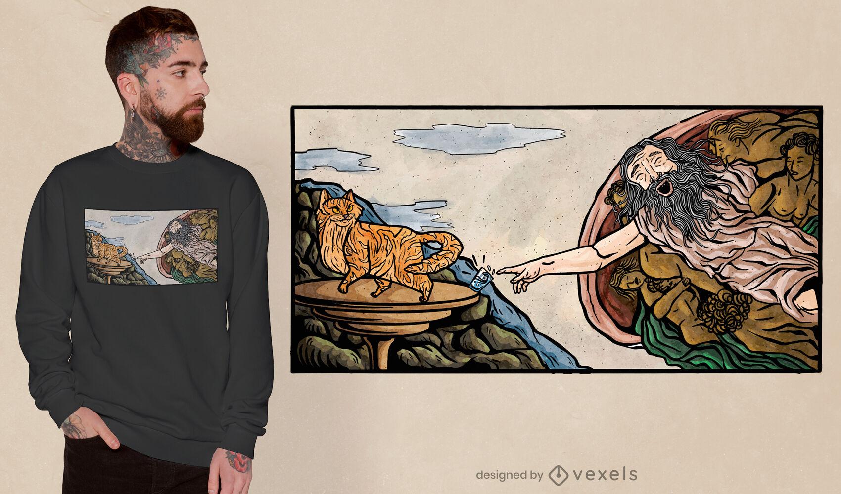 Dise?o de camiseta de pintura de creaci?n de gato.