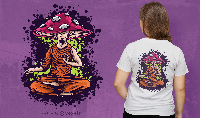 Diseño de camiseta de monje hongo.