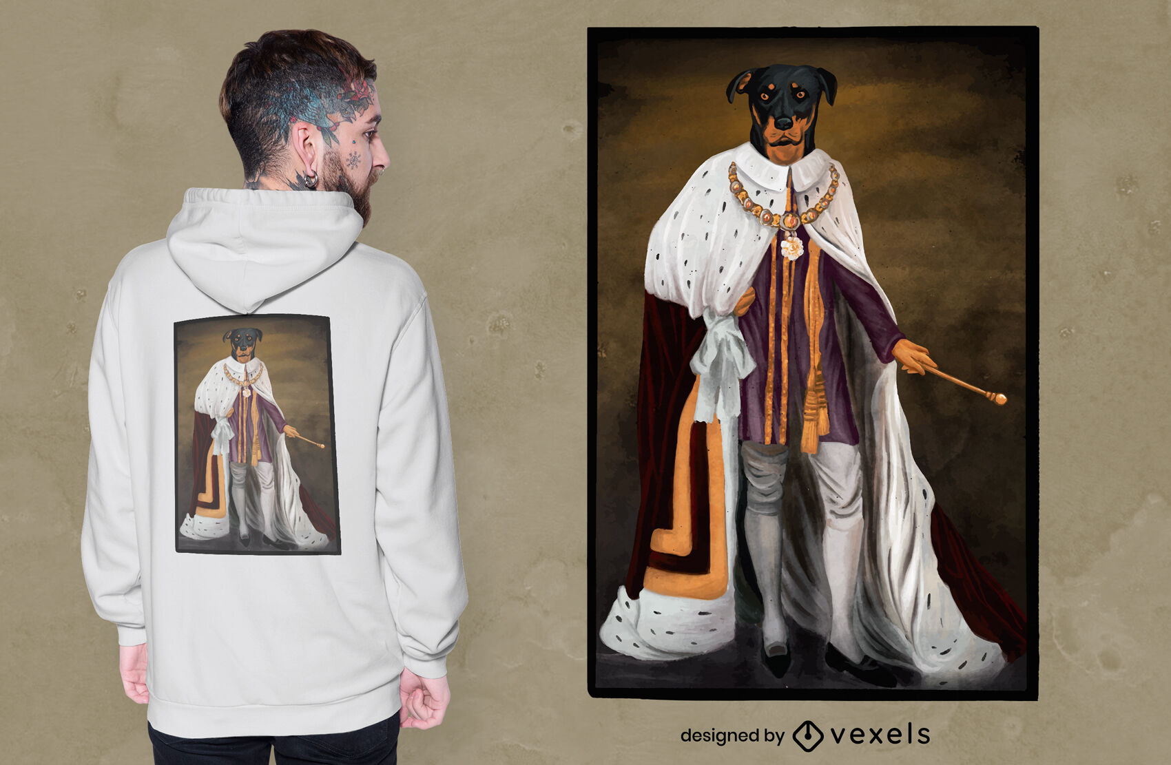Royalty dog realistic t-shirt design