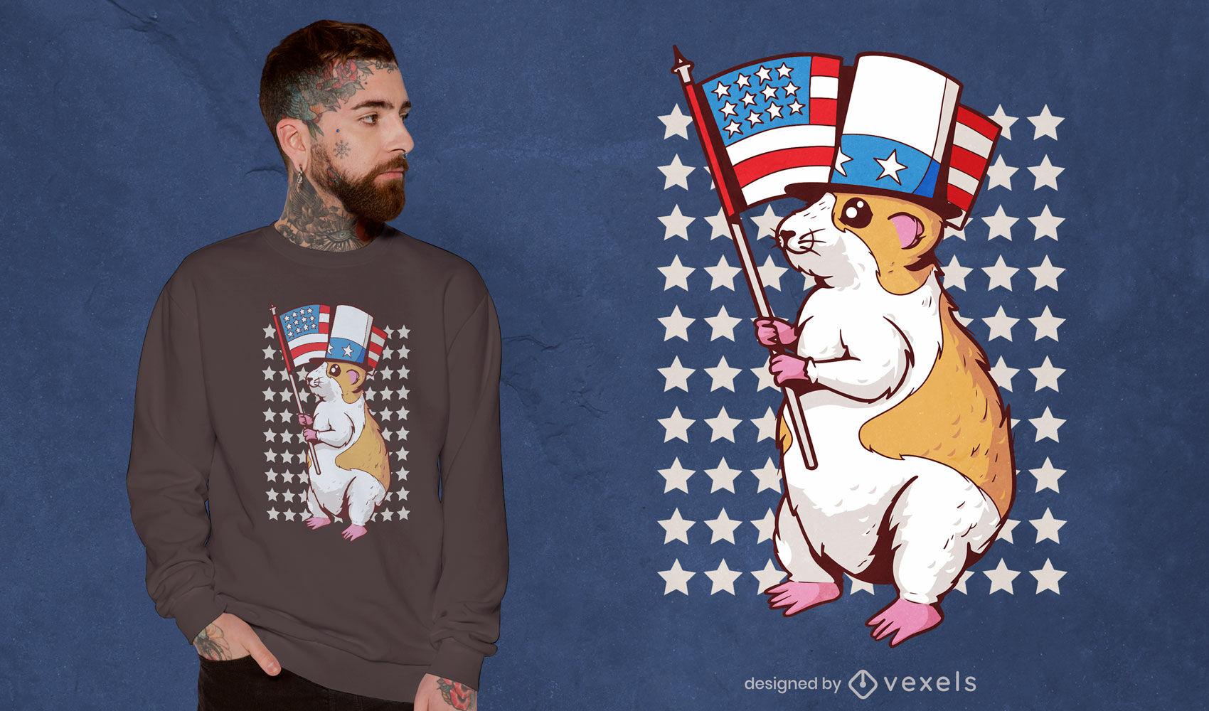 Diseño de camiseta de hámster de EE. UU.